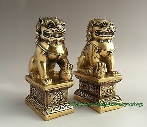 China-Archaic-copper-statue-lion-Foo-Dog-Door-guard-Statues