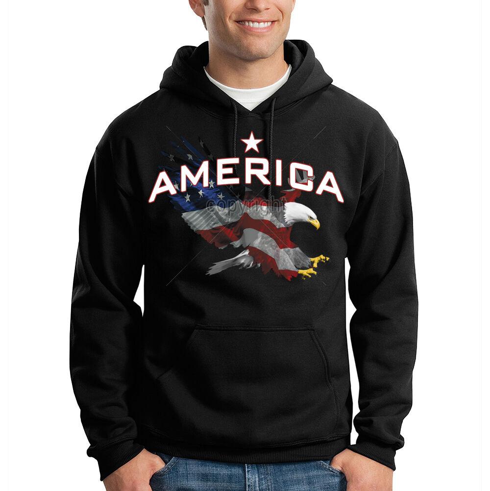 America Patriotic Eagle USA Flag 4th of July Hooded Sweatshirt Hoodie