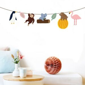 Zoo-Animal-Bunting-Banner-Garland-Party-Wall-String-Jungle-Hanging-Flag-Decor