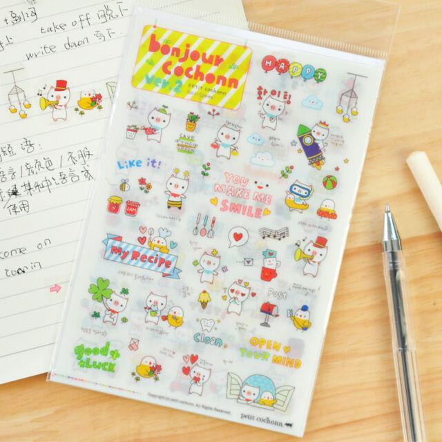 6 Sheets Cartoon Pig Calendar Diary Book Sticker Scrapbook Decoration Planner