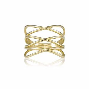 14K-Solid-Yellow-Gold-Crossover-Ring-Finger-Knuckle-Midi-Thumb-Band-Women-Men