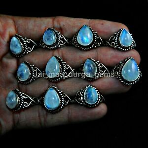 5 Pcs Lot Pear Shape Natural Moonstone 925 Sterling Solid Silver Rings RS-17