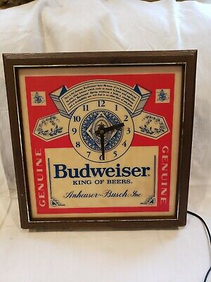 Breweriana, Beer Clever Vintage 60's/70's Budweiser Wall Clock With Light Drip-Dry Collectibles