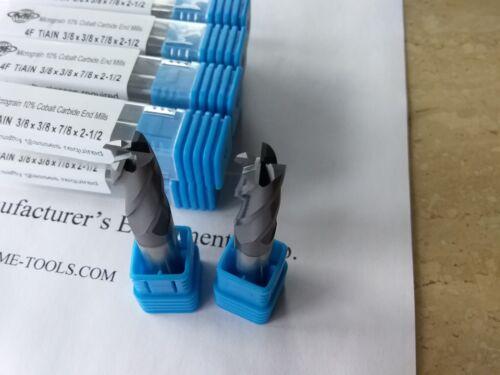 "10pcs 3//8/""x7//8x2-1//2 Solid Carbide End Mills,Tialn coated 4flt s//e 1006-TN38-new"