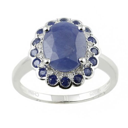 Pinctore White Sterling Silver Natural Indian Blue Sapphire and Diamond Classic