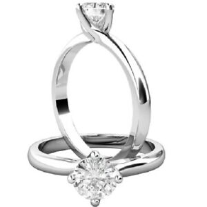 0.50 Ct Round Cut Moissanite Engagement Bridal Rings 18K Solid White Gold Size 8