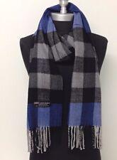 New 100% Cashmere Scarf Blue/Black Plaid Check Scotland Soft Wool Wrap Unisex#C5