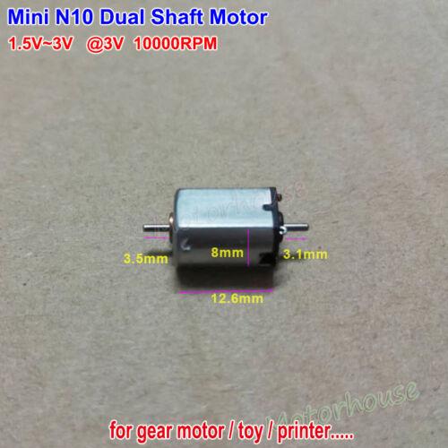 Mini N10 Dual Shaft Motor DC 1.5V-3V 10000RPM 10mm Diameter DIY Hobby Toy Model