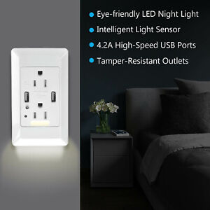 4-2A-Fast-Charging-Wall-Outlet-2-USB-Port-Socket-W-LED-Night-Light-Plate-White