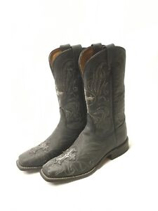 d3ee0201a92 Details about Ladies Tony Lama Boots- Black Narrow Square Toe w/Silver  Cross Style 7932L