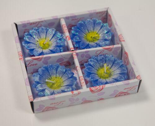 Schwimmende Glitzer Gerbera Blumen Kerzen 4er Packung Wohndeko