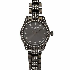 Infinite Ladies Gunmetal Crystal Embellished Watch From ...