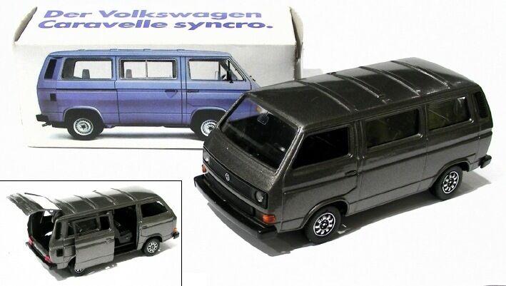Der vw bus t3 - schabak modell 1 43 - syncro caravelle - grau - metallic - neu ovp