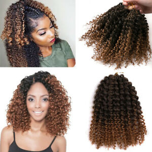 8 3 Pcs Set Ombre Brown Mali Bob Curly Crochet Braids Hair Extensions Synthetic Ebay
