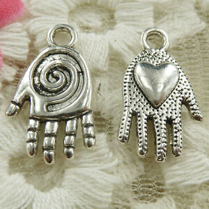 #4652 Free Ship 180 pcs Antique silver hand charms pendant 20x11mm