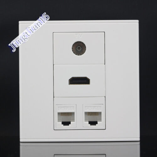 Wall Socket 4 Port Socket 2 port CAT5E /& One Port TV /& HDMI Port Panel Faceplate