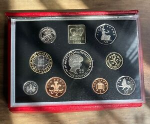 1999 DELUXE RED PROOF SET OF 9 COINS WITH CERTIFICATE OF AUTHENTICITY