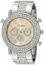 NEW Vernier Paris VNRP11184SS Women's Watch Silver Analog Chrono Date Crystal