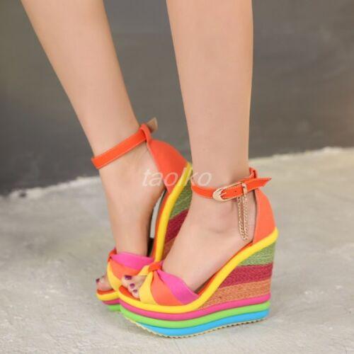 Womens High Heels Platform Fashion Wedges Sandals Shoes Buckle Rainbow Open Toe