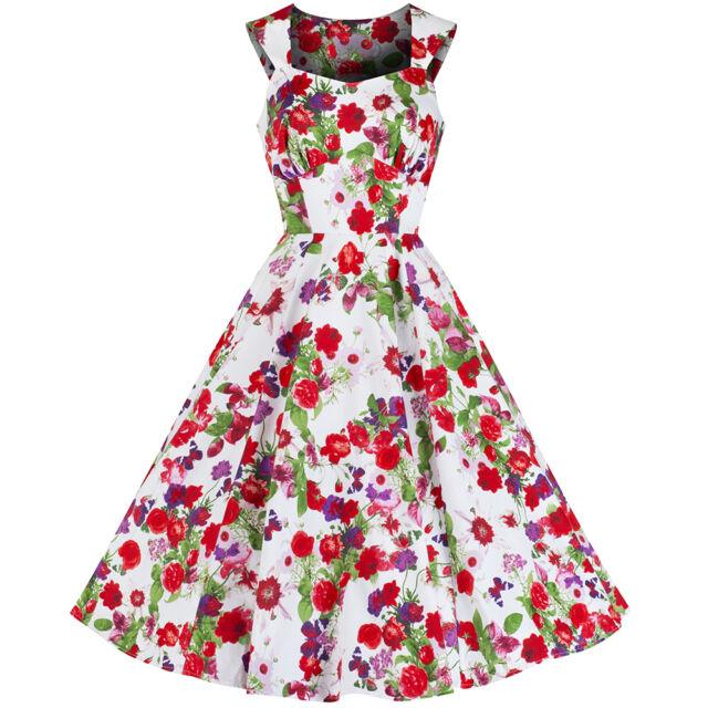 Pretty Kitty White Floral Butterfly Print Cotton 50s Rockabilly Swing Dress 8-18