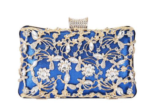 Womens Crystal Evening Clutch Bag Wedding Purse Bridal Prom Handbag Party Bag