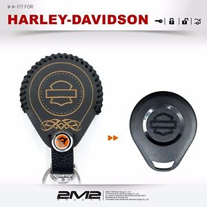 Leather-Key-fob-Holder-Case-Cover-KEY-RING-FIT-Fo-Harley-Davidson-Motorcycles