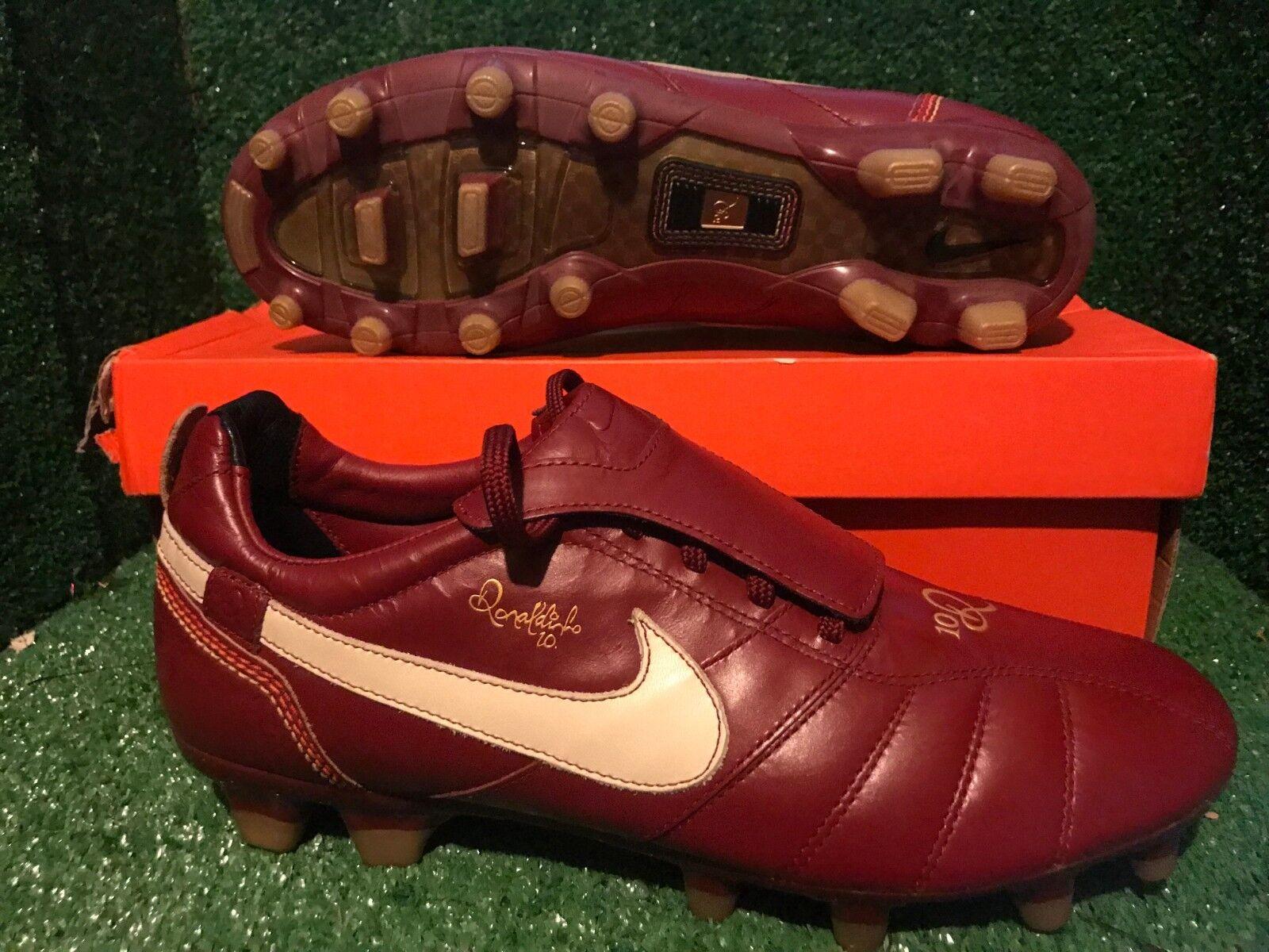 Nuevo Y En Caja Nike Tiempo R10 Ronaldinho Rojo T90 Zapatos Deportivos De Fútbol Raro 9 8 42,5