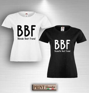 T-shirt-BEST-BLONDE-BRUNETTE-FRIENDS-Maglietta-Idea-Regalo-Coppia-Amiche-Amici