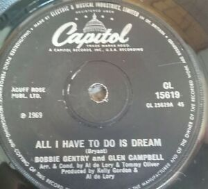 BOBBIE-GENTRY-GLEN-CAMPBELL-ALL-I-HAVE-TO-DO-IS-DREAM-7-034-VINYL-SINGLE