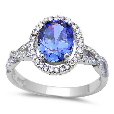 Oval Twisted Prong Tanzanite & Cz .925 Sterling Silver Ring Size 5-10
