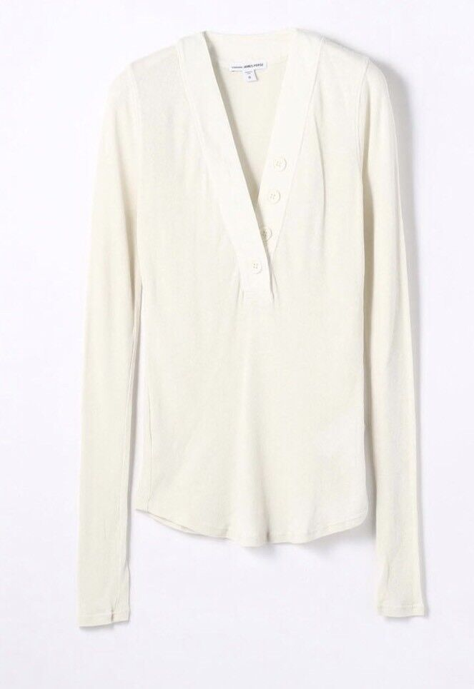NWT  James Perse Ribbed-knit Cotton Top Ivory With Button Größe 4