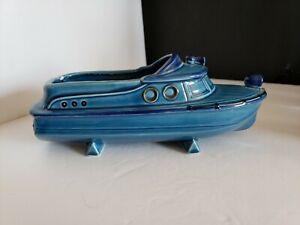 Relpo Pottery 6282 Cabin Cruiser Boat Planter Japan BLUE Vintage 9-1/4in