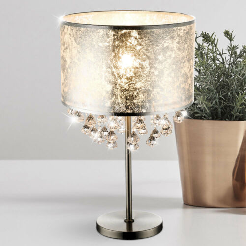 Nacht-Tisch-Leuchte Textil Blatt-Silber Stoff Steh Lese Lampe Kristall Behang