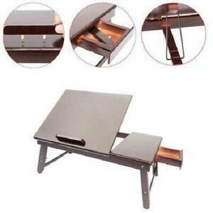 Drawer Dark Coffee Portable Bamboo Laptop Desk Table Folding Breakfast Bed Tray