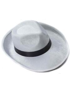Image is loading White-And-Black-Velvet-Gangster-Costume-Fedora-Hat c4d357b0dd01