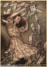 Arthur RACKHAM Alicia en el País De Las Maravillas Lewis dice que buscan jugando a las cartas de impresión