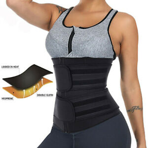 Women Waist Trainer Cincher Trimmer Sweat Belt Fitness Body Shaper Shapewear UK