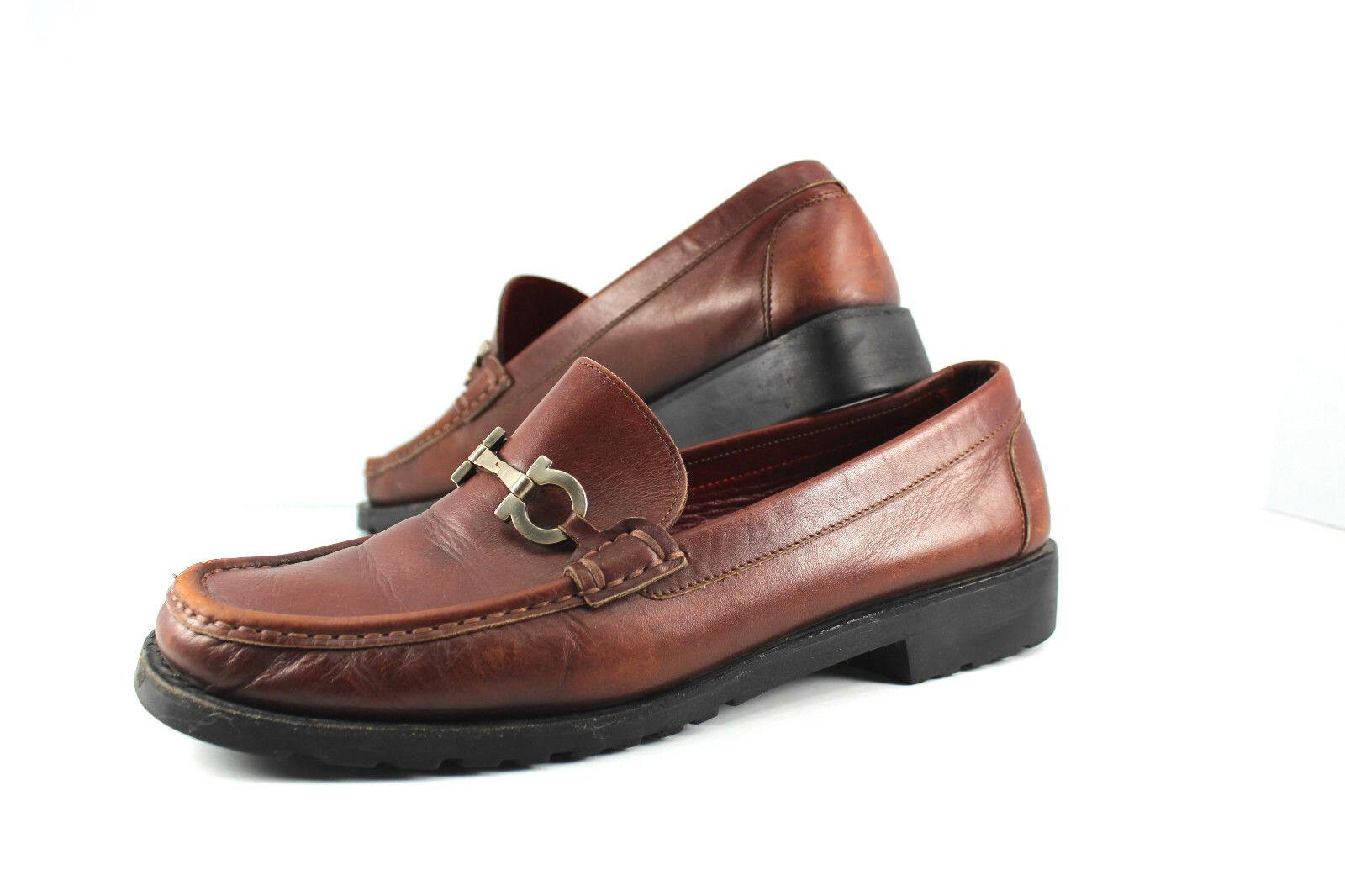 Salvatore Ferragamo Mujer Mujer Mujer Sport 9.5 Zapato Mocasín Marrón oscuro caballo poco Usado En Excelente Condición  disfrutando de sus compras