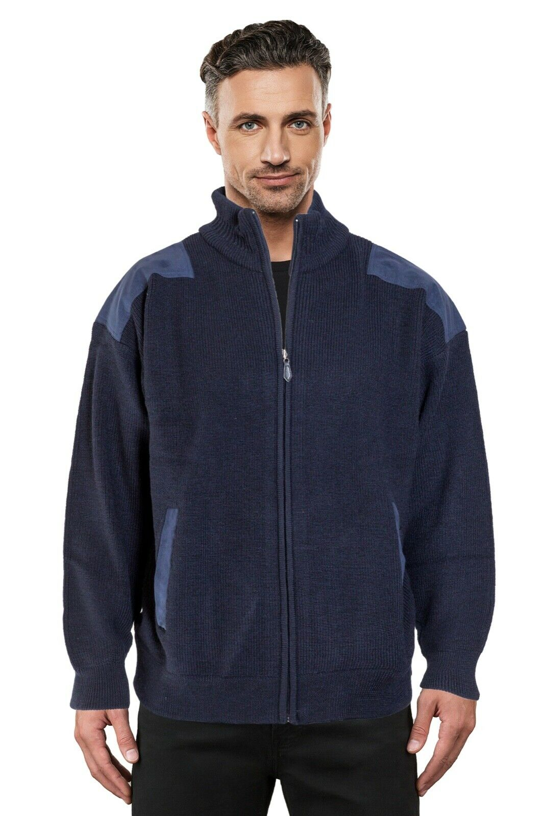 Navy Ansett Pure wolleFisherman Rib Knit jacke With Navy Patches Cardigan