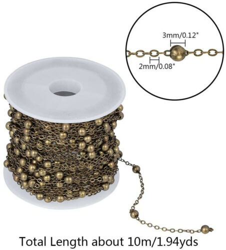 10m//32.8 Feet Antique Bronze Chains,Brass Cable Chains with 3mm Balls DIY Making