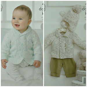 e3aa63386 KNITTING PATTERN Baby s Easy Knit Double Breasted Jackets  Bobble ...