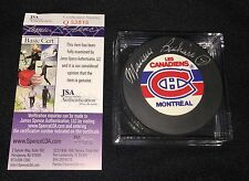 """MAURICE """"ROCKET"""" RICHARD SIGNED MONTREAL CANADIENS PUCK JSA AUTHENTICATED Q53816"""