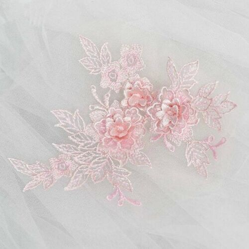 5× Lace Applique DIY Wedding Dress Headwear Patch Flower Embroidered Trim Motif