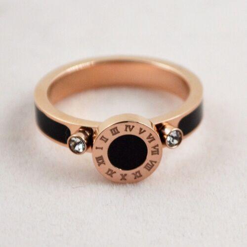 Women/'s 3.5 mm chiffres romains Titane Acier 18K Or Rose noire émail Zircon Cubique Bague