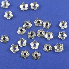 8 Frog bead cap sets antique silver tone A50