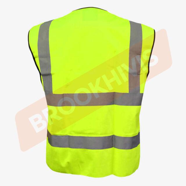 SECURITY Hi Vis Vest High Visibility Reflective Safety WaistcoatYellow//Orange