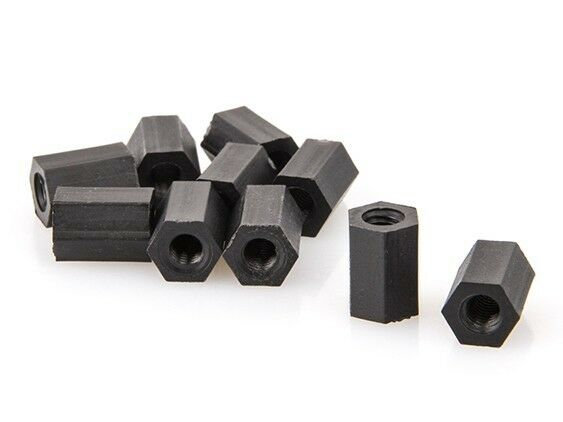 M3x10mm Nylon Hex Standoff Black(10pc)