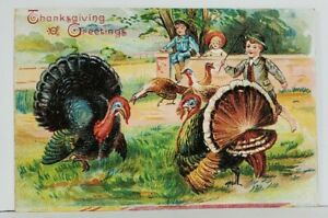 Thanksgiving-Greetings-Children-Chasing-Turkeys-Embossed-Postcard-M20