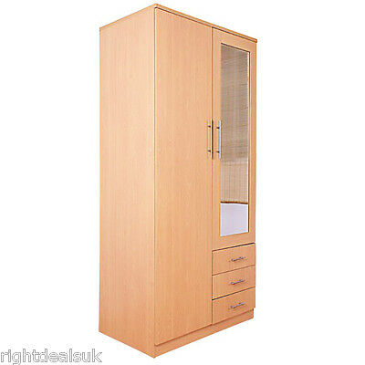 Las Vegas 2 Door 3 Drawer Mirrored Wardrobe - Beech Finish - Bedroom Furniture
