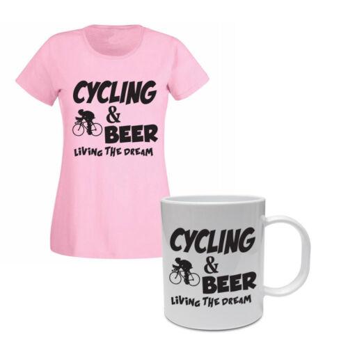 Cyclist CYCLING /& BEER Cycle Funny Gift Idea Women/'s T-shirt /& Mug Set